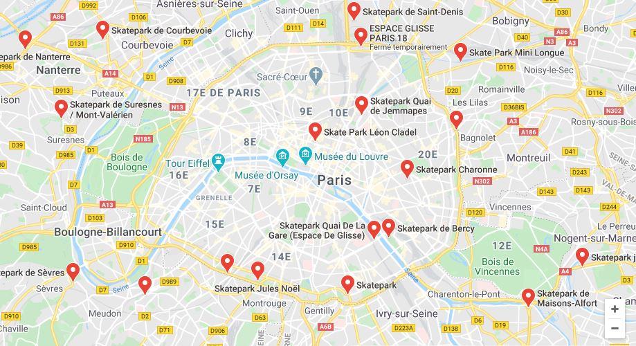 Liste des skateparks à Paris